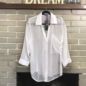 ark & co sheer button down tunic, NWT Size Small